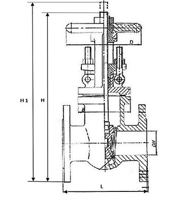 Чертеж Задвижка стальная ЗКЛ2-16 газовая 30с41нж Ду300 Ру16 МЗТА