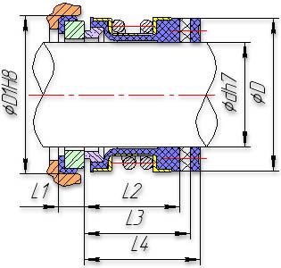 Установочные размеры торцового уплотнения (DIN 24960)